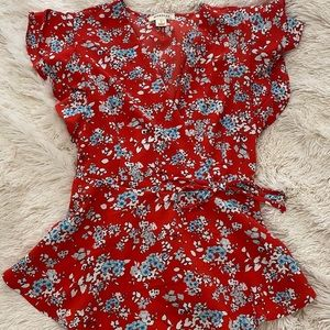 Red Flowered Blouse  - Size Small